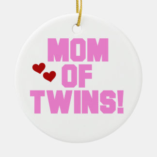 Mom of Twins Pink Text Gifts Double-Sided Ceramic Round Christmas Ornament
