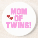 Mom of Twins Pink Text Gifts Drink Coasters