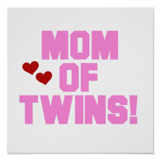Mom of Twins Pink Text Gifts Poster