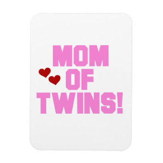 Mom of Twins Pink Text Gifts Rectangular Photo Magnet
