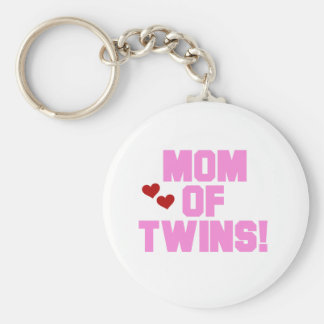 Mom of Twins-Pink Text Tshirts and Gifts Keychain