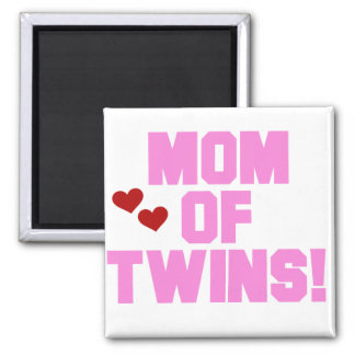 Mom of Twins-Pink Text Tshirts and Gifts 2 Inch Square Magnet