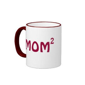 Mom of Two mug: Mom Squared Ringer Coffee Mug