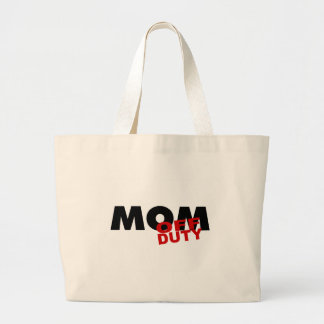 Mom Off Duty (Blk) Large Tote Bag