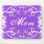 """Mom"" on purple & white flourish design Mouse Pad"