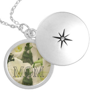 """MOM"" On White Lillies Round Locket Necklace"