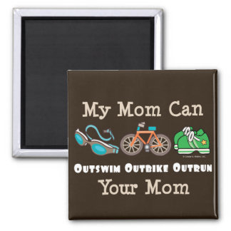 Mom Outswim Outbike Outrun Triathlon Magnet