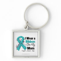 Mom - Ovarian Cancer Ribbon Keychain
