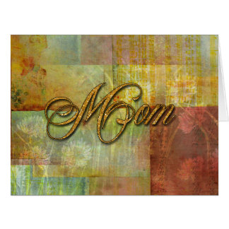 Mom Patch Quilt Design Background Greeting Card