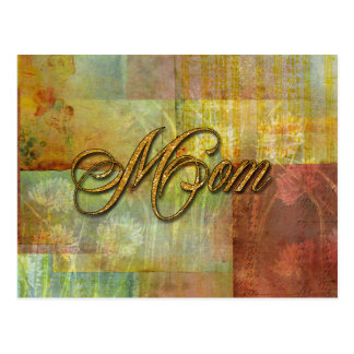 Mom Patch Quilt Design Background Postcard