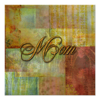Mom Patch Quilt Design Background Poster
