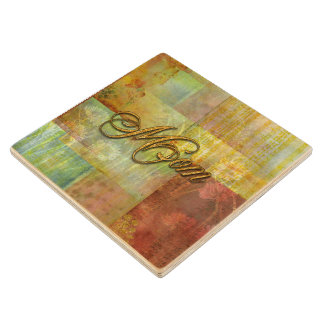 Mom Patch Quilt Design Background Wooden Coaster
