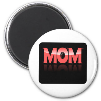 Mom, Pink & Distorted On Black Reflective Bkgrd Magnet