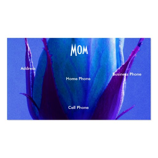 Mom Pink Green Blue Rose Business Card