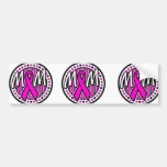 mom pink ribbon and stripes awareness bumper stickers