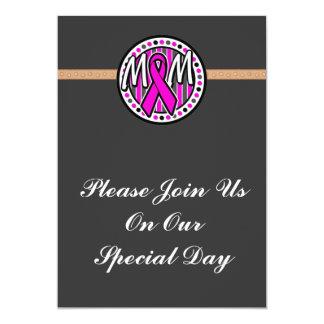 mom pink ribbon and stripes awareness card