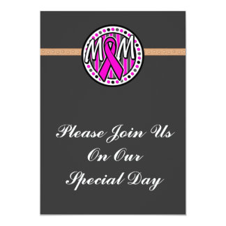 mom pink ribbon and stripes awareness 5x7 paper invitation card