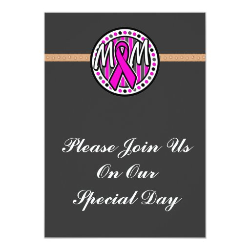 mom pink ribbon and stripes awareness invitations