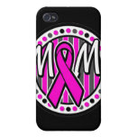 mom pink ribbon and stripes awareness iPhone 4 covers