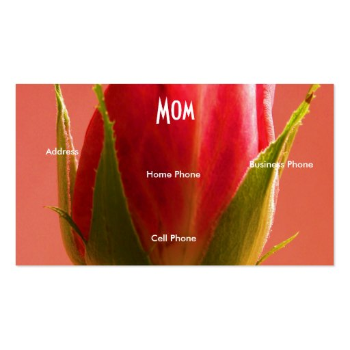Mom Pink Rose Business Card Template
