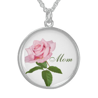 Mom, Pink Rose Flower with Dew Drops Customizable Round Pendant Necklace