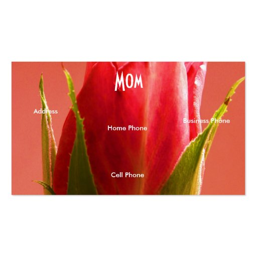 Mom Pink Rose Profile Card Business Card Template