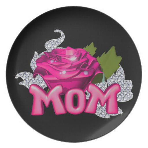mom pink tattoo rose diamond party plates zazzle. Black Bedroom Furniture Sets. Home Design Ideas
