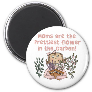 Mom Prettiest Flower in the Garden 2 Inch Round Magnet