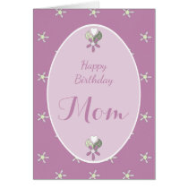 Mom purple shabby chic Birthday Card