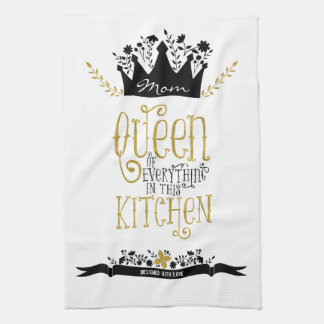 Mom - Queen of the Kitchen   Gold Glitter Kitchen Towels