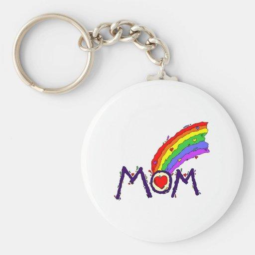 Mom (Rainbow) Basic Round Button Keychain