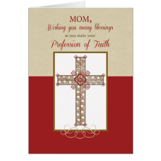Mom, RCIA Blessings on Profession of Faith, Cross Card