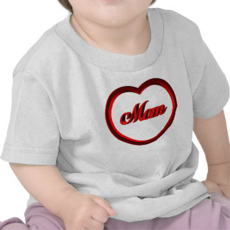 Mom Red Heart Frame Tees