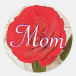 Mom Red Rose Sticker Round Stickers