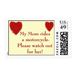 Mom rides a Motorcycle, watch out for him Postage
