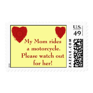Mom rides a Motorcycle, watch out for him Stamp