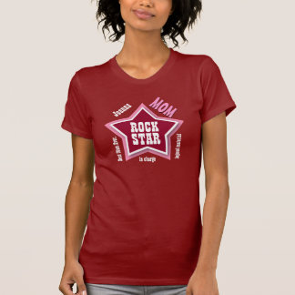 MOM Rock Star Big Star Custom Name RED V03 T-Shirt