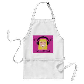 Mom Rocks! Cute Cartoon Blonde Mom & Headphones Adult Apron