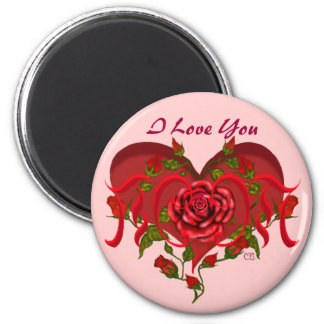Mom Rose Heart 2 Inch Round Magnet