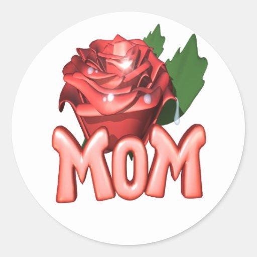 mom.rose. pegatina redonda