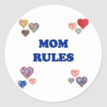 Mom Rules Classic Round Sticker