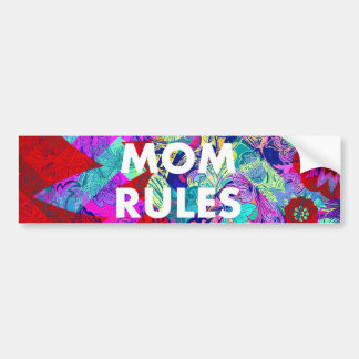 MOM RULES Colorful Floral Mothers Day gifts Car Bumper Sticker