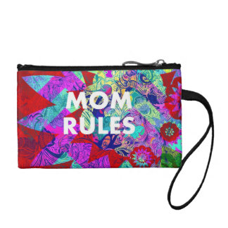 MOM RULES Colorful Floral Mothers Day gifts Coin Purses