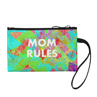 MOM RULES Colorful Floral Mothers Day gifts teal Change Purses