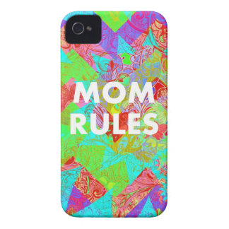 MOM RULES Colorful Floral Mothers Day Gifts teal iPhone 4 Cover