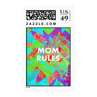 MOM RULES Colorful Floral Mothers Day gifts teal Postage