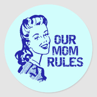 Mom Rules T-shirts and Gifts For Her Classic Round Sticker