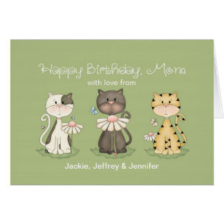 Mom s Birthday 3 Cats from all - custom names Card