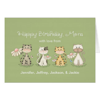 Mom s Birthday 4 Cats from all - custom names Greeting Cards