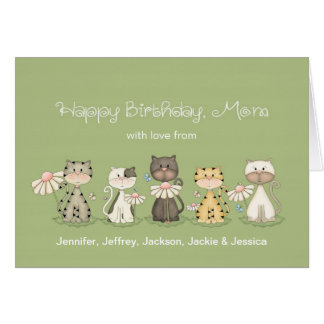 Mom s Birthday 5 Cats from all - custom names Card